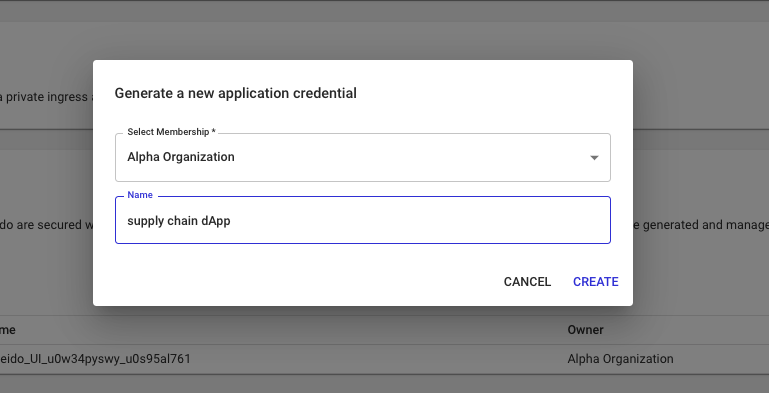 Create Application Credential