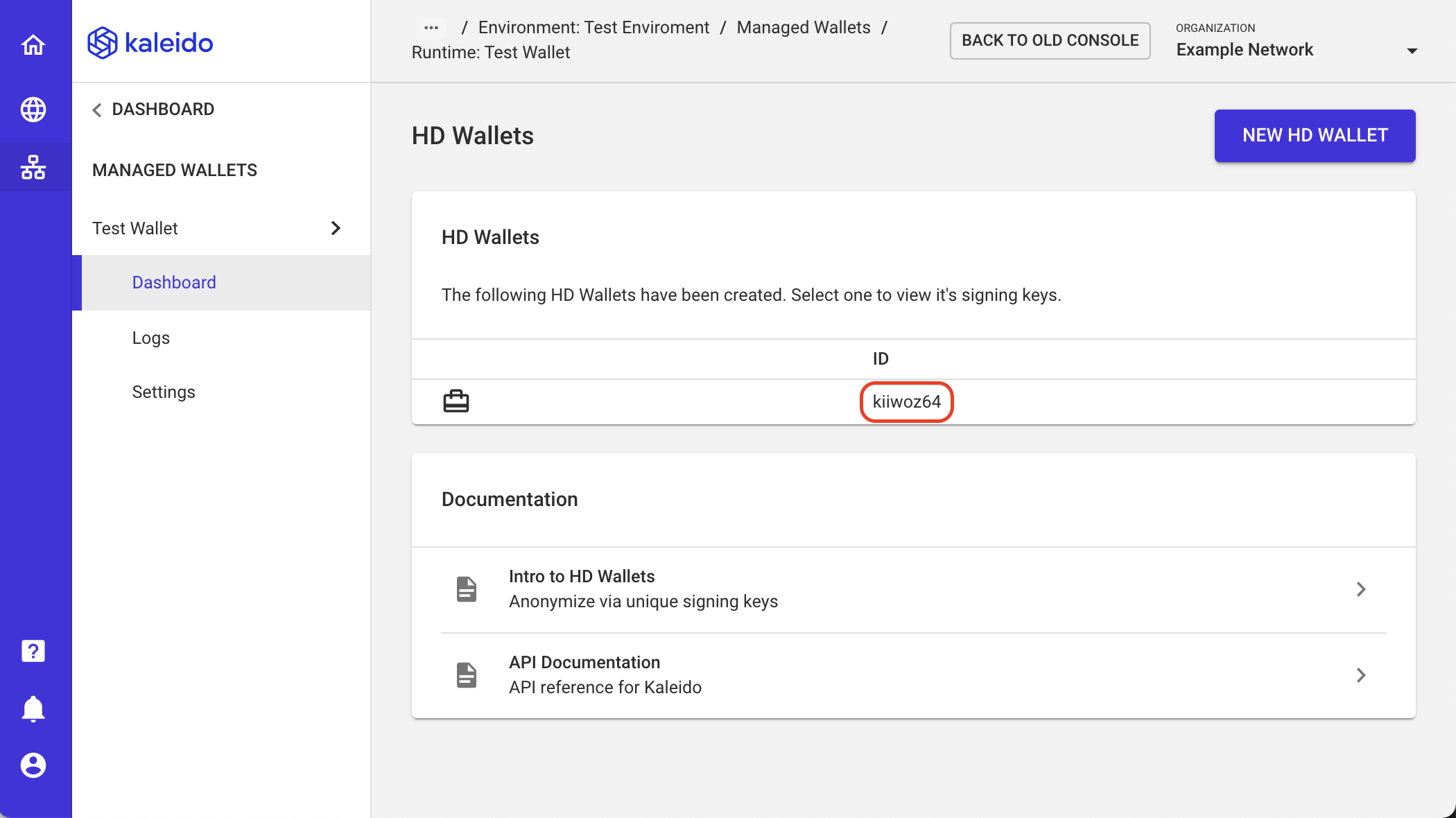 Example HD Wallet Instance