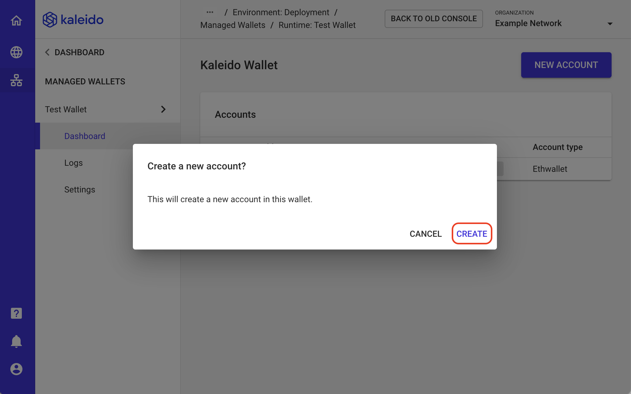 Create New Managed Wallet Account